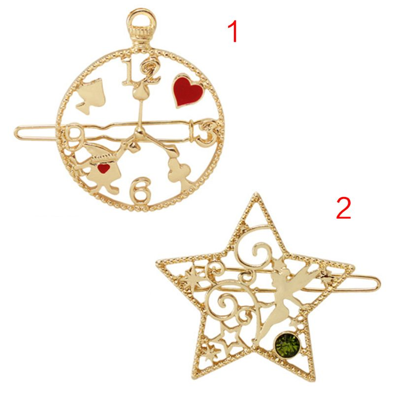 Cute Cartoon Star Alice Rabbit Clock Star Hair Clip Womens Romantic Faux Crystal Jewelry Hairpin Hollow Geometric Metal Barrette