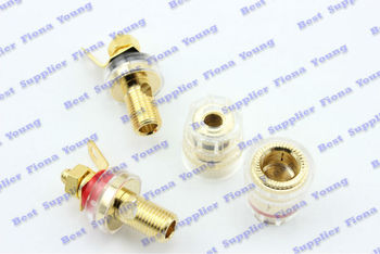 50 pcslot Speaker Cable Terminals Copper Gold Binding Post Banana Jack 2 Colors 32mm Free Shipping
