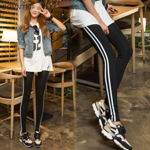Image 2 - Pants Women 2020 Skinny High Elasticity Simple Trendy Pencil Trousers Student Striped Korean Cotton Sweatpants Womens All match