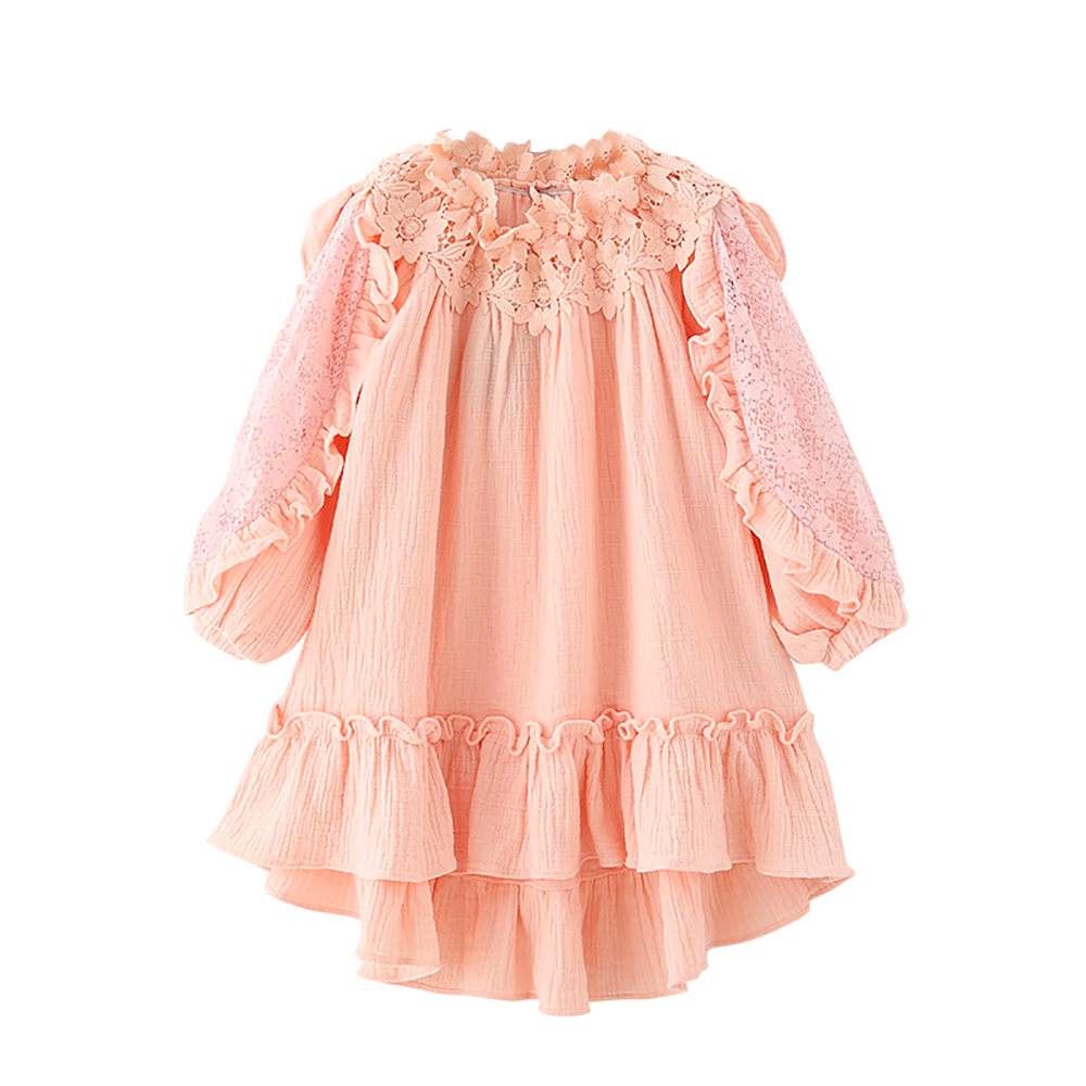 B-B17009 New Fashion Spring Girls Casual Dresses Early Summer Lace Shoulderless Princess Dress 5-8T Teenager Kids Pink Dress lace panel casual shift dress fashion
