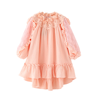 B B17009 New Fashion Spring Girls Casual Dresses Early Summer Lace Shoulderless Princess Dress 5 8T