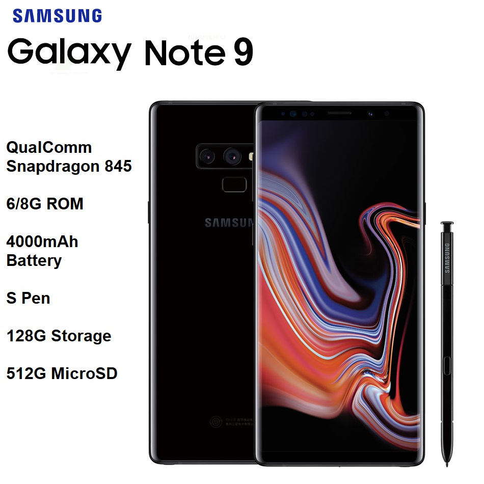"Samsung Galaxy Note 9 6.4"" Quad HD+ AMOLED Infinity Display Snapdragon 845 S Pen 6/8G RAM  IP68 Wireless Charge 4000mAh Batt купить"