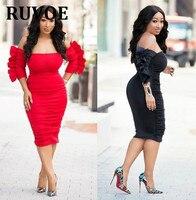 2018 Wholesale Red Black Slash Neck Dress Women Mid Sleeve Sexy Bodycon Dresses Tunic Vestido Midi Plus Size XL XXL YC 13