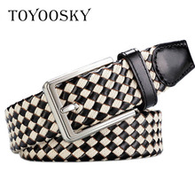 2018 Luxury Plaid Genuine Leather CowSkin Men Belt Knitted Braided Belt With Pin Buckle without hole Belt For Men TOYOOSKY мужской ремень braided belt pin hhm 021