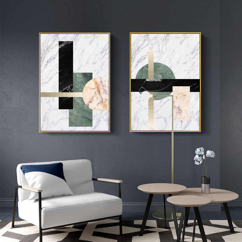Modern Abstract Marble Effect Canvas Painting Geometry rectangle Posters and Print Living Room Wall Art Home Decor Picture