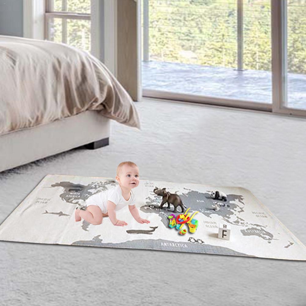 Newborn Baby White World Map Animal Pattern Mat Children Antiskid Play Carpet 140x90cm Rectangle Infant Crawling Blankets