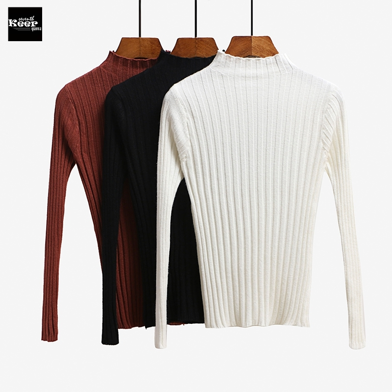 2018 New Autumn Luxury Fashion Runway Designer Women Sweater Pullover Sweaters Slim Turtleneck Striped Basic Knitted Tops Jumper