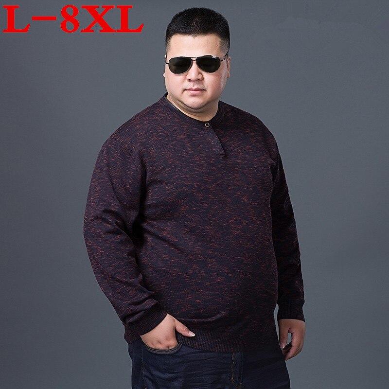 Plus la taille 8XL 7XL6XL Hiver Hommes 2018 Nouvelle Mode Pull Tricoté Chandail D'o-Cou Casual Manches Longues Pulls Chauds Mâle Chandails