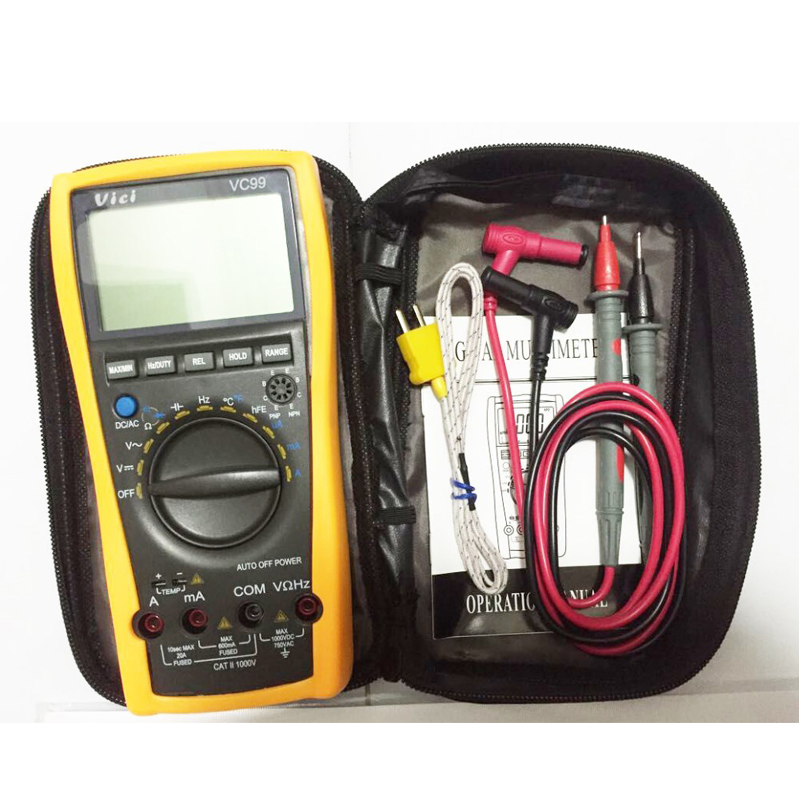 ФОТО 1set Vichy VICI VC99 3 6/7 Auto range digital multimeter with bag Vici VC99 +Thermal Couple TK cable