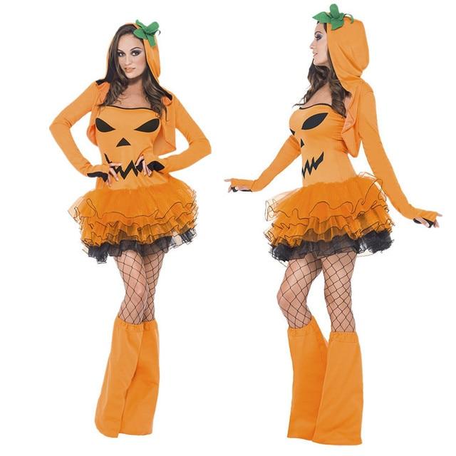 cb69a94be58 US $42.66 |Lady Halloween Orange Pumpkin Costume Adult Fruit Role Playing  Pumpkin Dress Girls Cos Devil Dress Performance Suit B 4962-in Holidays ...