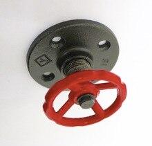 Brida de hierro fundido estilo Industrial Retro, válvula roja, gancho de pared, colgador de ropa, 2 unids/lote