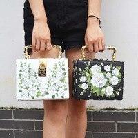 Fashion Design Elegant White Roses Printing Ceramic Handle Women S Handbag Shoulder Bag Mini Women Messenger