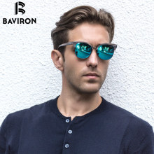 BAVIRON Hand Made Grain Sunglasses Retro Classic Plate Sun Glasses Metal Anti-UV400  Polarized Sunglasses Fashion Eyewear 0462
