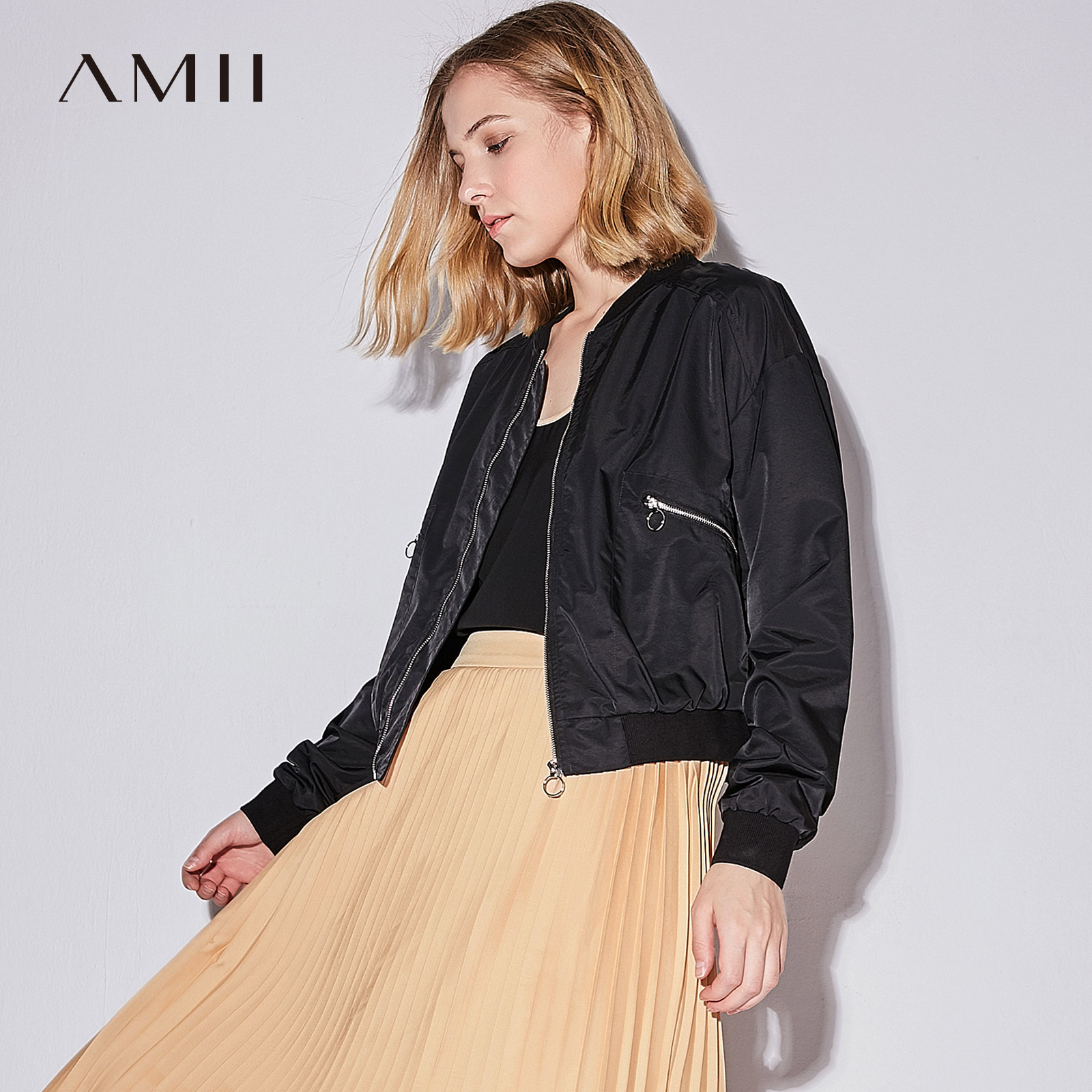 Amii Casual Women Jacket 2018 Solid Stand Collar Zipper Female Jackets