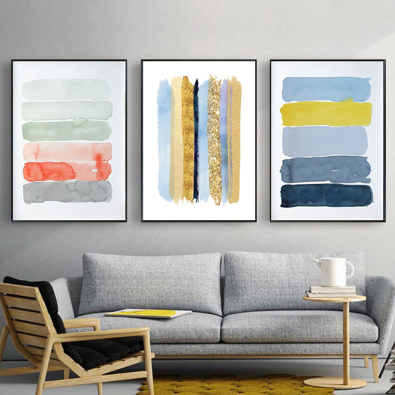 Contemporary Artwork Living Room Window Valances Blue And Gold Canvas Art Abstract Poster Pastel Painting Calming Landscape Pictures For Decor