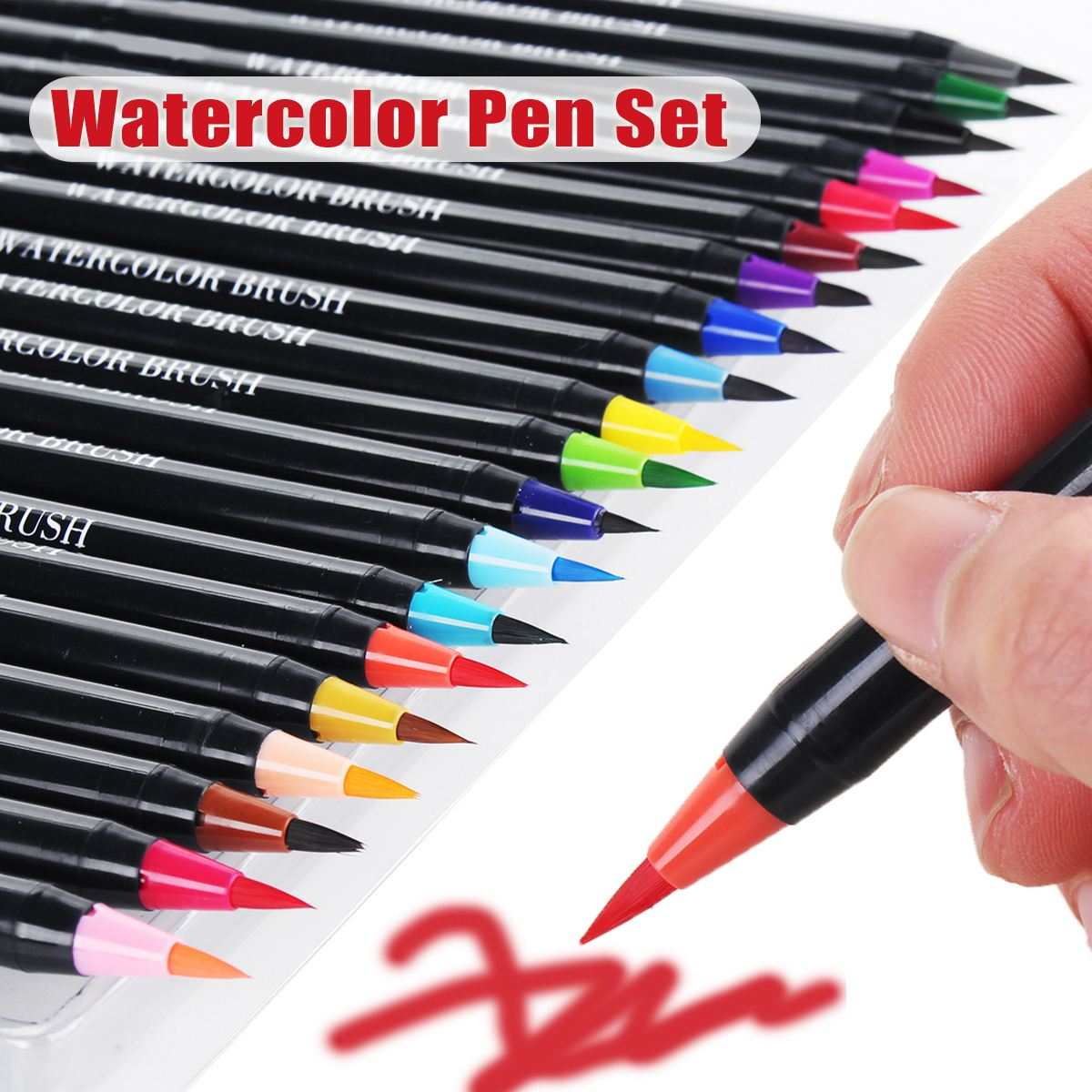 1- 20 Colors Premium Painting Soft Brush Pen Set Real Brush Pens - Watercolor Art Markers + 1 Water Brush Pen promotion touchfive 80 color art marker set fatty alcoholic dual headed artist sketch markers pen student standard