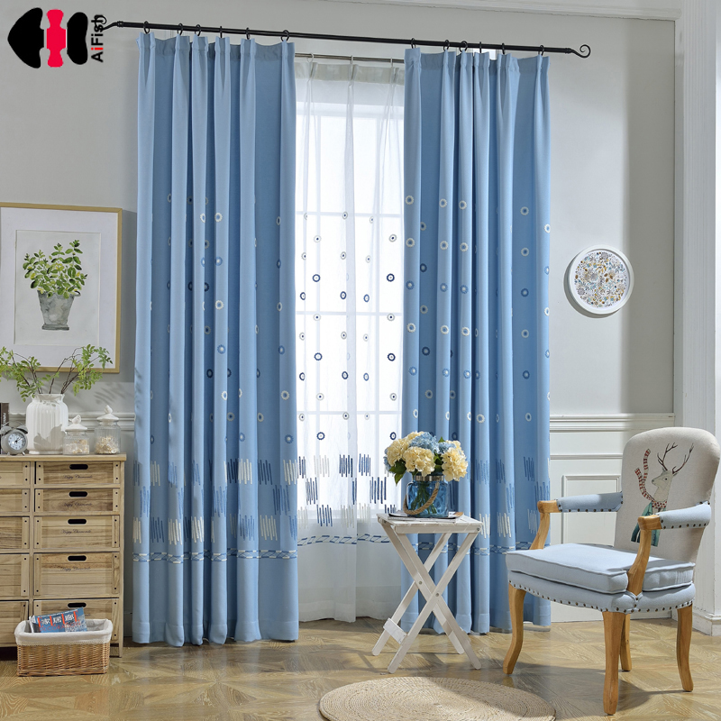 Blue Wind Bell Modern Curtains Cotton Linen For Girls Bedroom Children Nursery Living Room Blinds