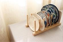 New 1Set Wood Kitchen Storage Rack Utensils Dish Dinner Plates Holder DIY Accessories
