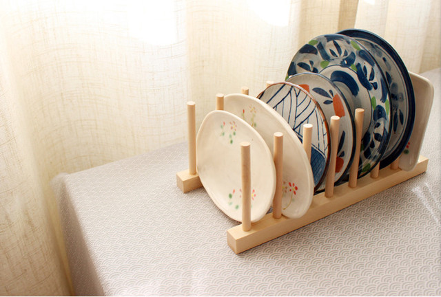 New 1Set Wood Kitchen Storage Rack Kitchen Utensils Dish Rack Dinner Plates  Holder DIY Holder Kitchen