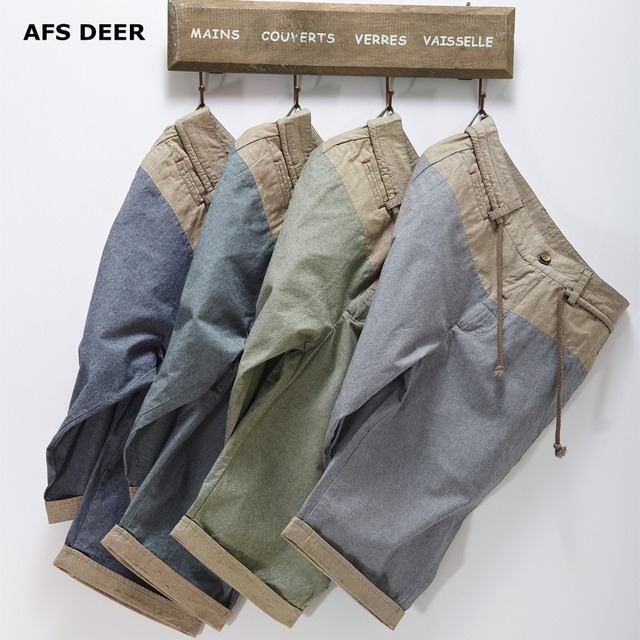 AFS DEER  Men Shorts Straight Knee Length Zipper Shorts Plus Size 2017 Brand England Style Casual Plaid Solid Bermuda Masculina