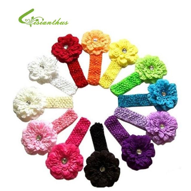 Free Shipping 12 pcs/ lot 12 Colors Mixed Peony Flower Headband Baby Hair Accessary Jewelry Headwear TF004