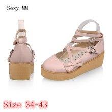 Обувь без шнуровки на платформе Женские туфли с платформой на высоком каблуке повседневная обувь на платформе обувь на танкетке и высоком каблуке плюс размер 34-40, 41, 42, 43
