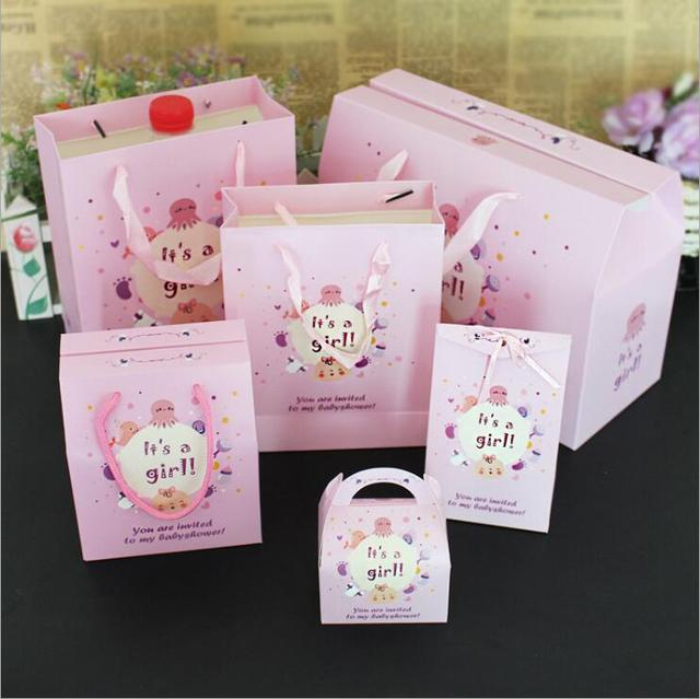 10pcs Set Birthday Candy Box Event Party Favor Gift Bag With Handle Baby Shower Decoration