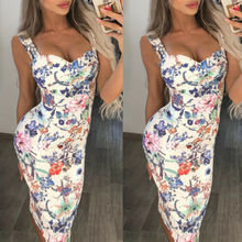 Fashion Womens Lady Summer Elegant Square Neck Floral Dress Sleeveless Sling Beach Party Cocktail Bodycon Bandage Sundress S-XL