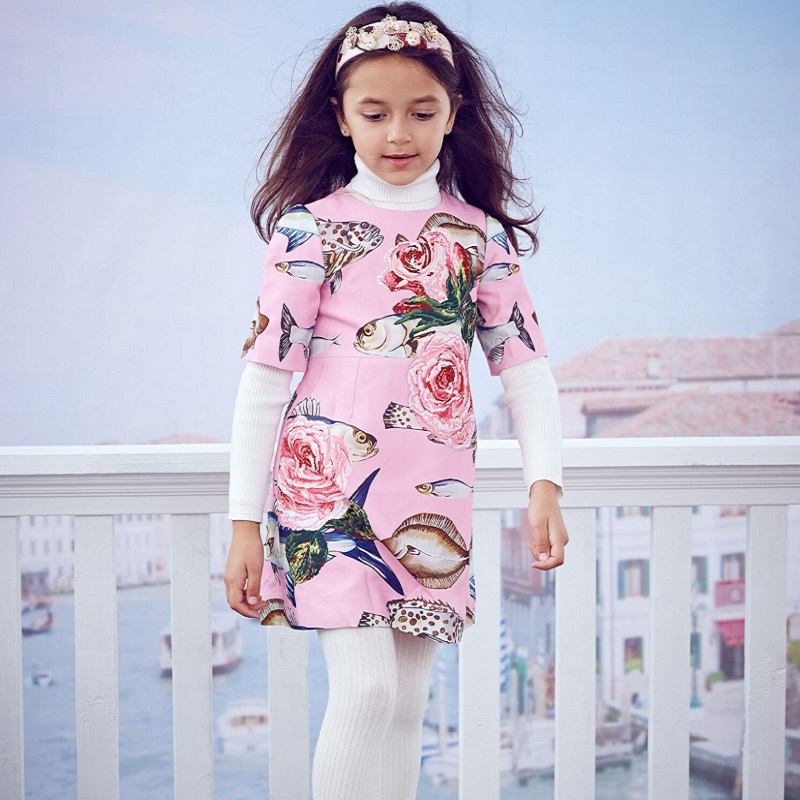 Princesa dress robe fille pescado impreso vestido de fiesta con ...