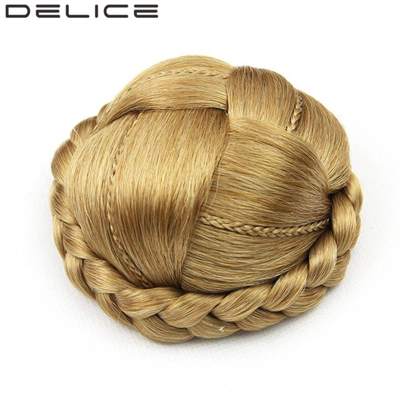 [DELICE] Чистый Цвет 50гр женская Клип В Синтетических Плетеный Chignon Высокая Температура Волокна Волос