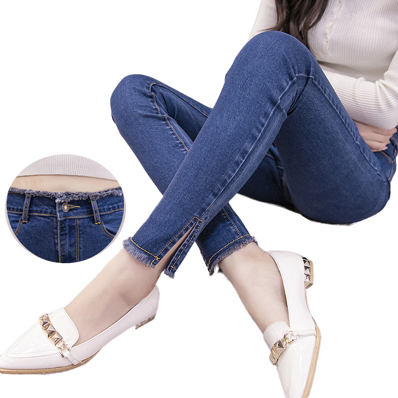 2017 Spring Autumn Women jeans ripped High Waist Stretch Skinny Slim Pencil Pants Female Denim Ladies Trousers pantalon femme women jeans large size high waist autumn 2017 blue elastic long skinny slim jeans trousers large size denim pants stretch female