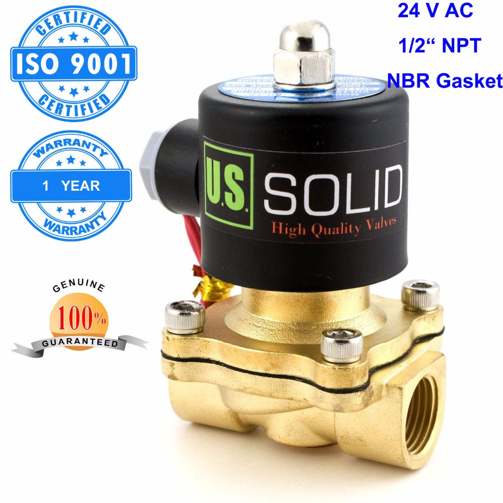 U.S. Solid 1/2 Brass Electric Solenoid Valve 24 V AC NPT Thread Normally Closed water, air, diesel... ISO Certified u s solid 1 stainless steel electric solenoid valve 110v ac npt thread normally closed water air diesel iso certified