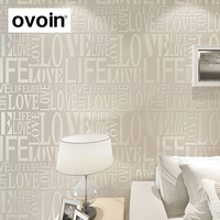 European Style Venus Contemporary Art Deco Flocking Letter Wallpaper White Beige Grey Pink Purple Bronze Wall