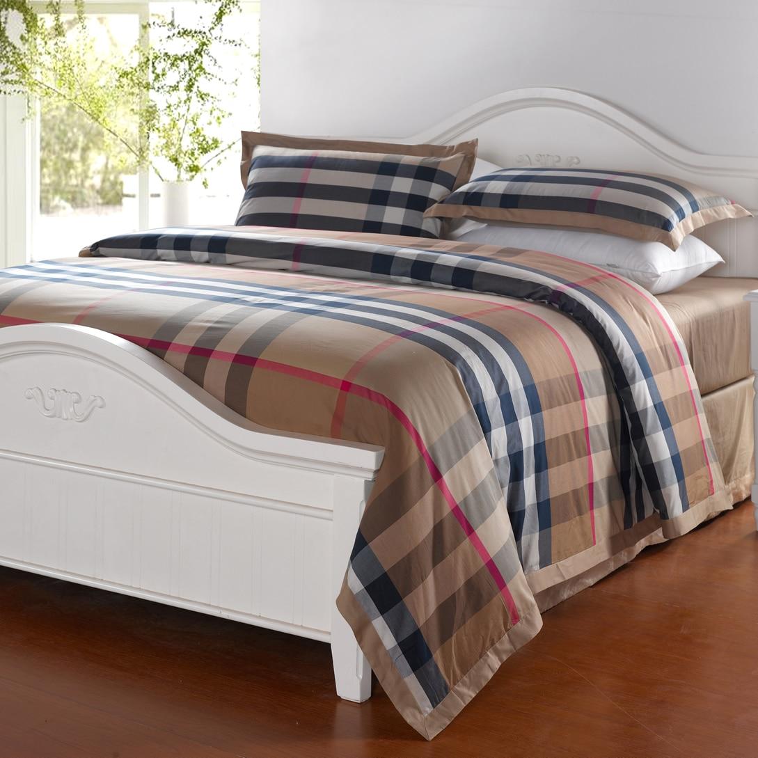 Cool bed sets for men - Fashion Home Textile Wholesale 100 Cotton Brief Plaid Comforter Bedding Set 4pcs Bed Sheet