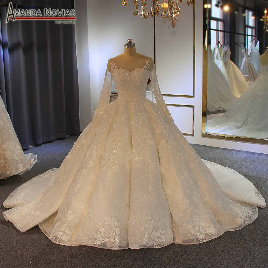 robe de soiree longue 2019 ball gown wedding dress full beading real work