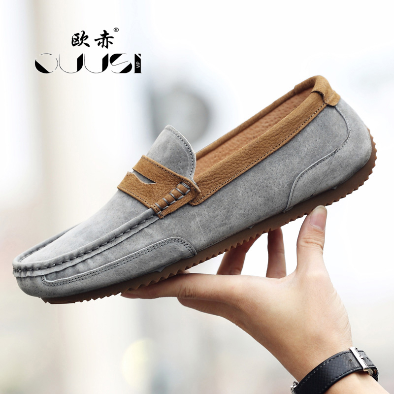 Khaki Dos Sapatos Redonda black Primavera Casuais Do Um Homens 2019 Coreana Couro De Inglaterra gray Selvagem Preguiçoso Pé Cabeça Versão Maré Nova Ervilhas 8qSRR