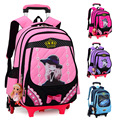 Korean Children's Detachable Trolley Backpack Bag Schoolbag Dual Removable Stairs Wheels Trolley Bags Primary Children Backpack