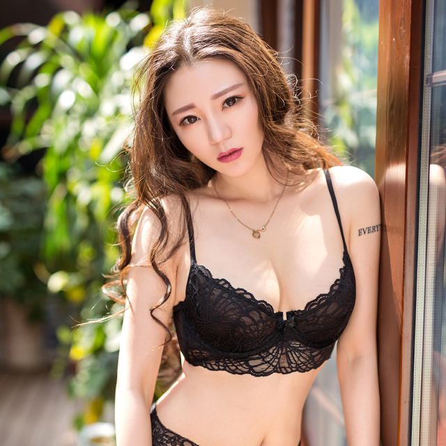 1a792bd9669 Sexy Lingerie Underwear Set Transparent Bra Set Lace Bras For Women Black Ultra  thin Embroidery Plus Size Bra And Panty Sets
