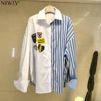 NIWIY Brand Summer Stitching Loose Long Stripe Shirt Womens Tops and Blouses Blusas Mujer De Moda 2019 Women Shirts N9230