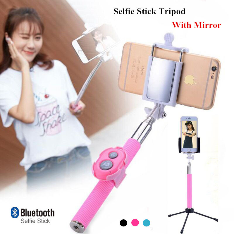 New Mini Selfie Stick Tripod Built in Bluetooth Monopod Phone Selfie Stick With Mirror Remote Shutter