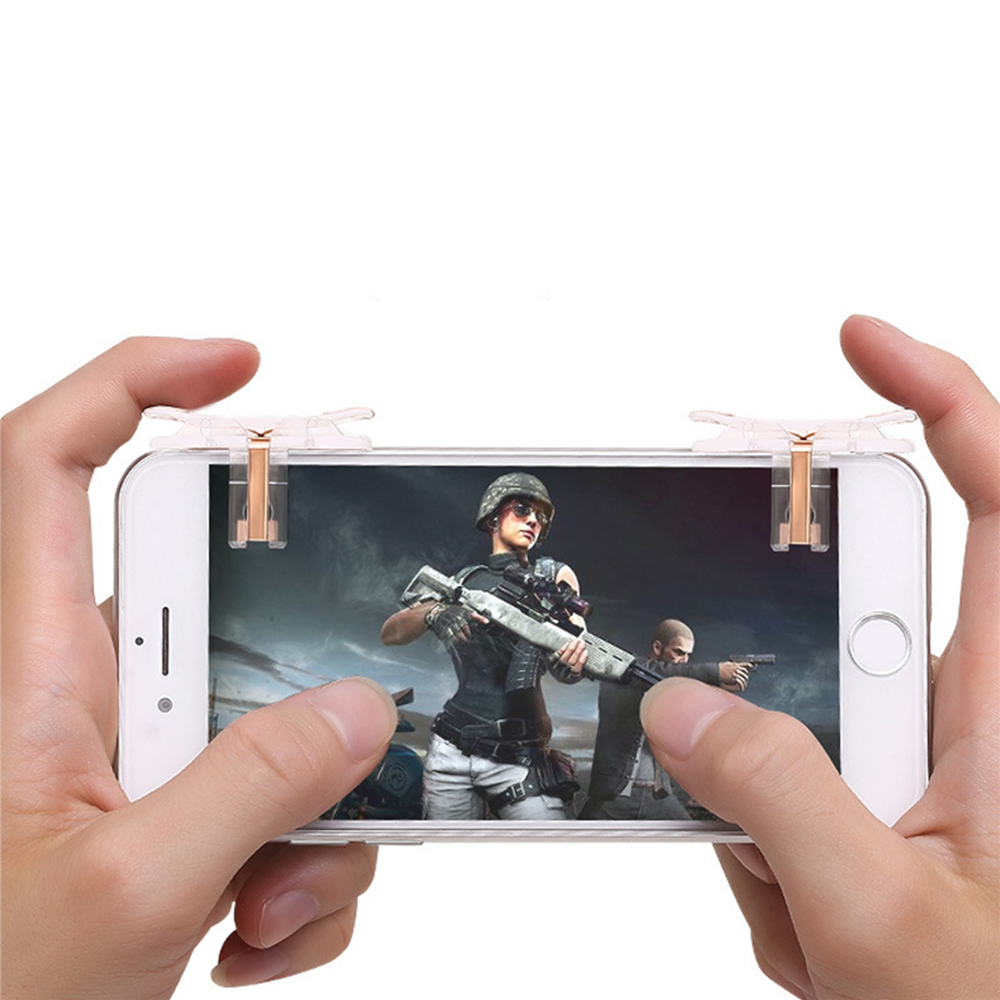 1Pair T10 Gaming Trigger Mobile Game Fire Button Aim Key for PUBG for Rules of Survival Smart Phone Game Shooter Controller
