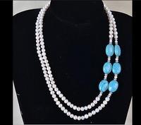 Kobieta biżuteria ślubna 2 wiersze prawdziwe natural white pearl light blue kamień mieszane choker naszyjnik shining rhinestone handmade