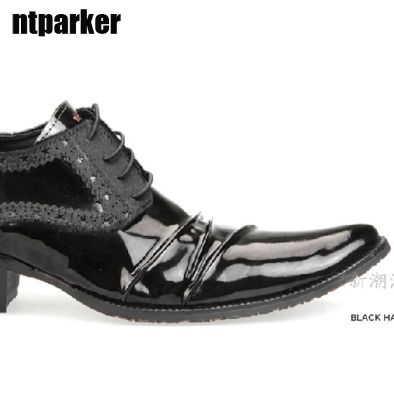 ntparker 2018 New Mans pointed toe business casual leather shoes Men elevator shoes man Business Shoes, Free Ship