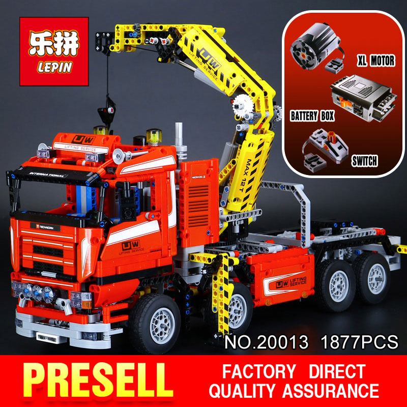 LEPIN 20013 Technic series 1877Pcs The Electric Crane Truck Model Building  locks Bricks Compatible 8258 Toy for Children gifts
