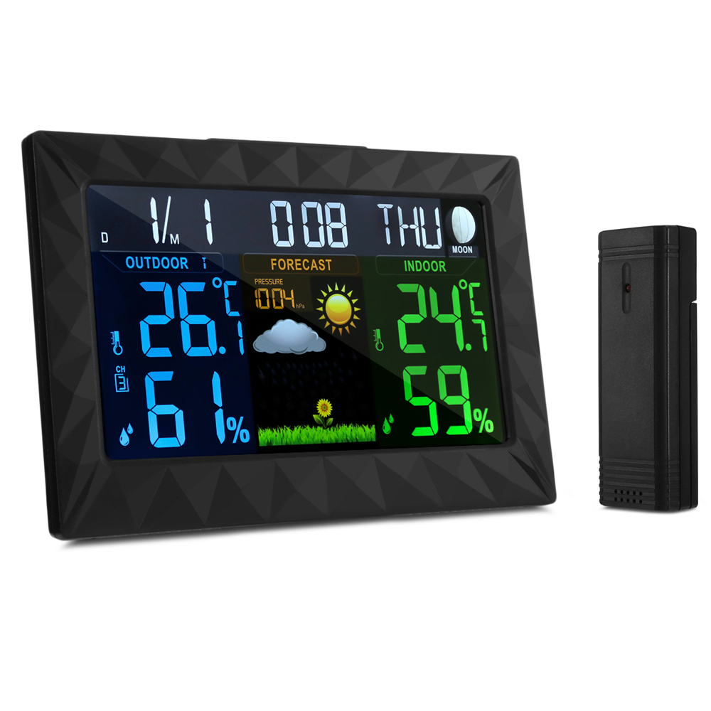 Digital Color Forecast Weather Station with Indoor / Outdoor Wireless Sensor Temperature Humidity Barometric Pressure Gauge rcmall bme280 pressure humidity temperature barometric pressure altitude sensor module with iic i2c for arduino fz1639