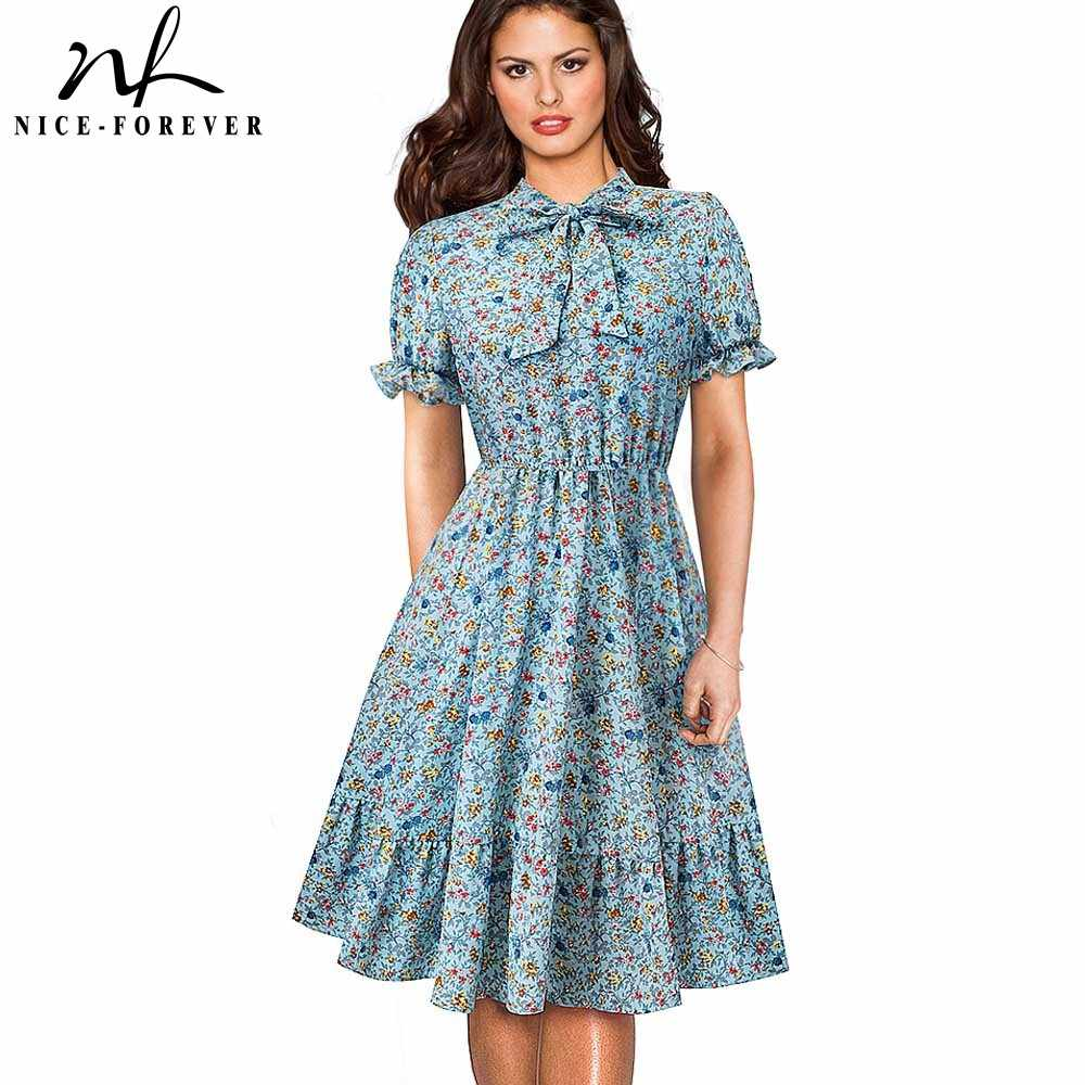 Хороший-навсегда Ретро Винтаж свежий цветочный с пышными рукавами vestidos Повседневное вечерние женские, с расклешенным свинг-Line женское платье btyA141