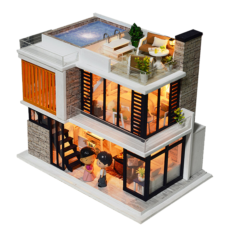Doll House Diy Miniature Wooden Miniaturas Dollhouse Furniture Swimming Pool Building villa Kits Toys for Child