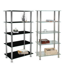 5 Tier Glass Shelf Unit Display Table Storage with Chrome Legs Living Room Furniture HOT SALE