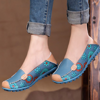 Genuine Leather Women Flat Casual Loafers Floral Round Toe Shoes Woman Moccasins Slip On Shoes For