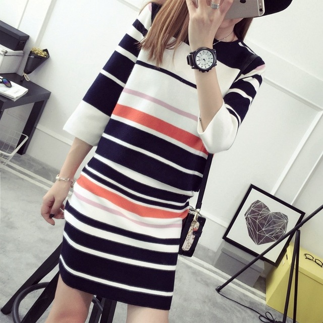2016 New Arrival Women's Autumn Clothes Knitting Striped Patchwork Pullover Top And Elastic Skirt Set Female Casual Suits